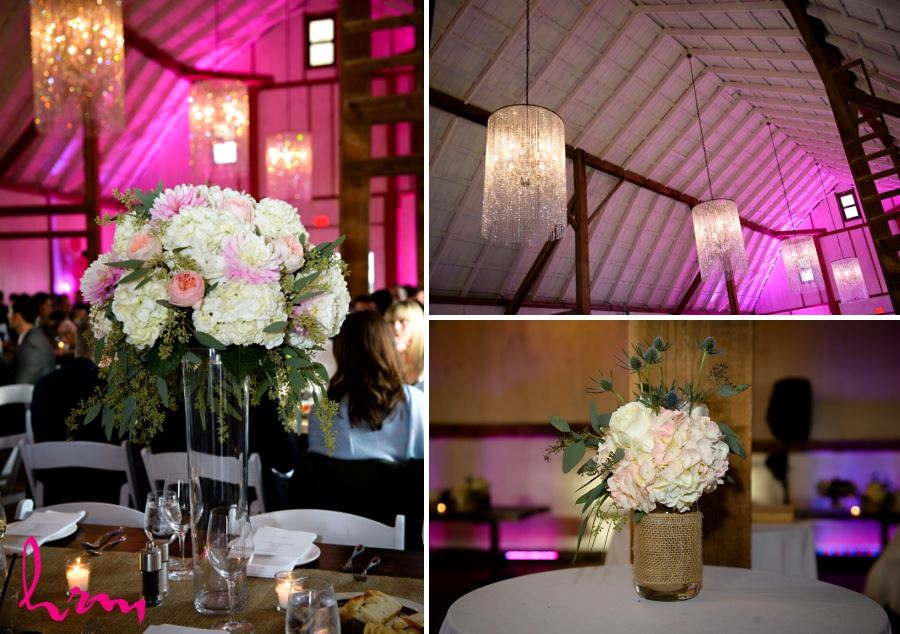 Barn reception decor mason jar vases with burlap