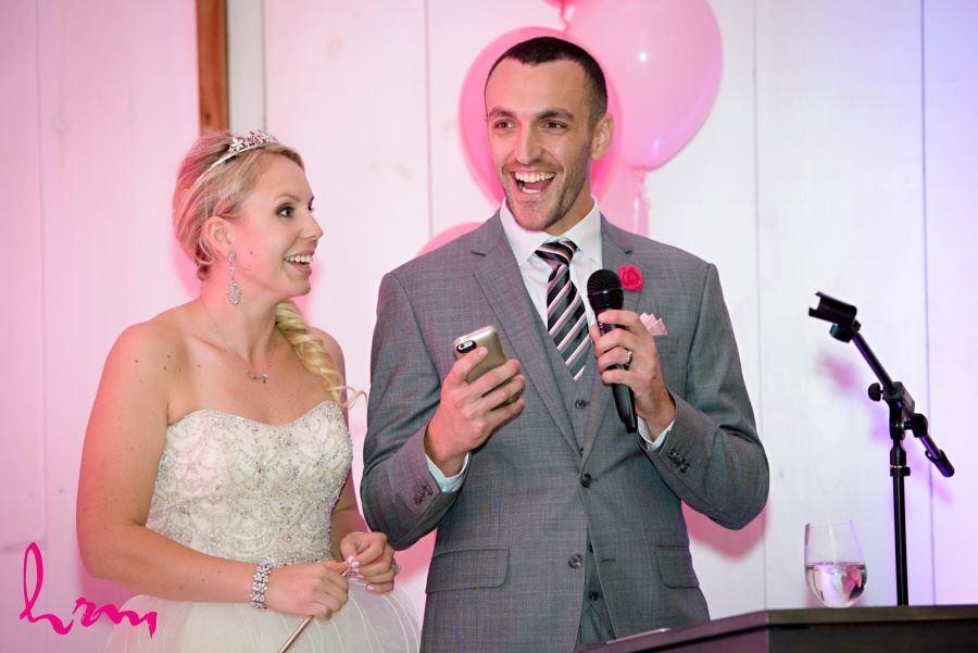 Wedding reception decor pink balloons