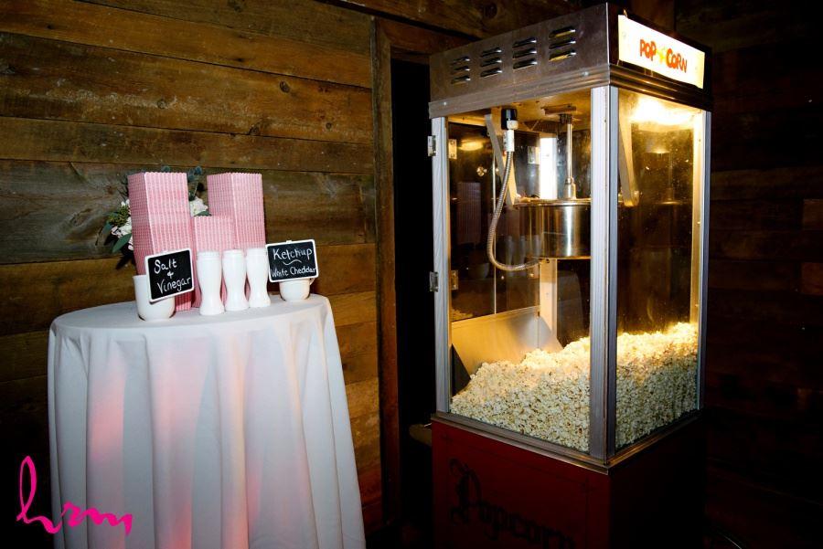 Wedding reception late night snack idea popcorn machine