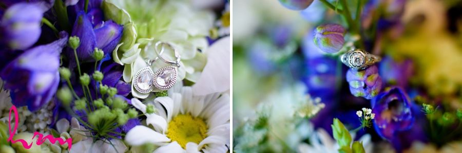 closeup of engagement ring and bridal jewellery on flowers