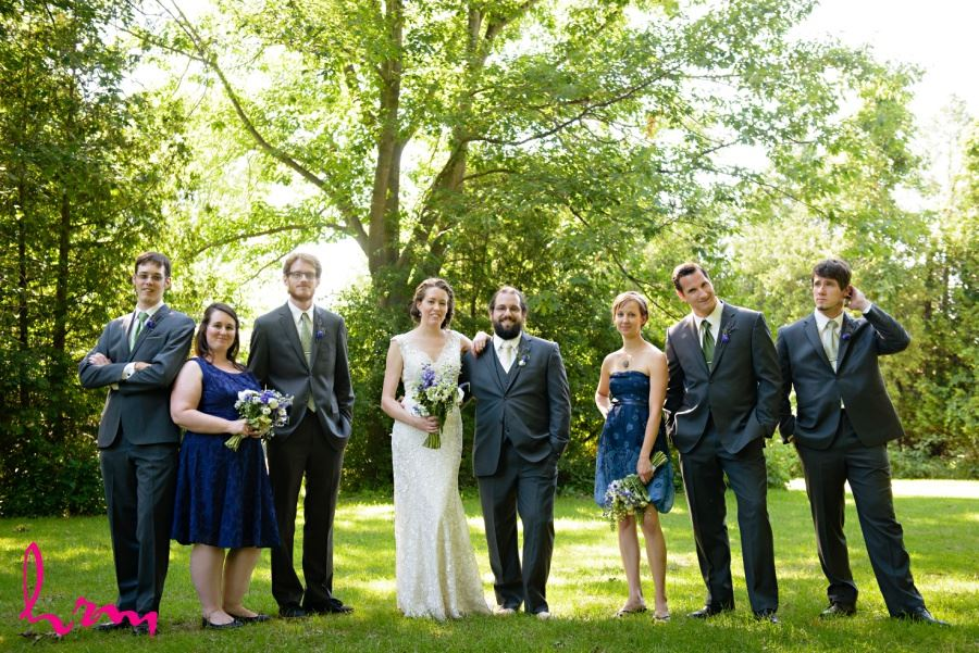 wedding party in gray green and blue