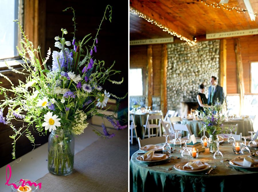 Wildflower bouquets centrepieces wedding reception decor