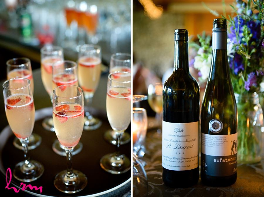 champagne with strawberries wedding reception ideas