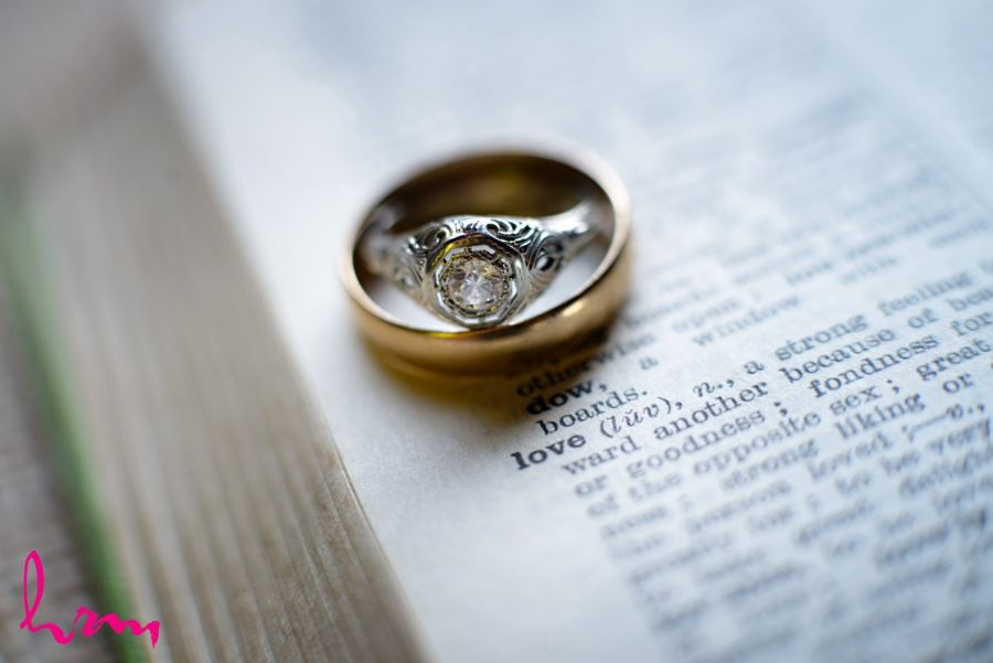 rings on word love literary book themed wedding ideas