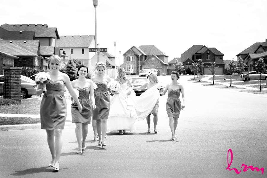 Bride and Bridesmaids walking down the street in London Ontario