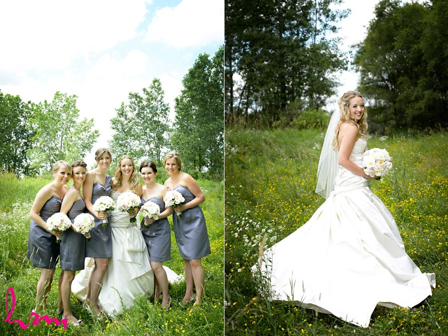 Bride with bridesmaids in London Ontario
