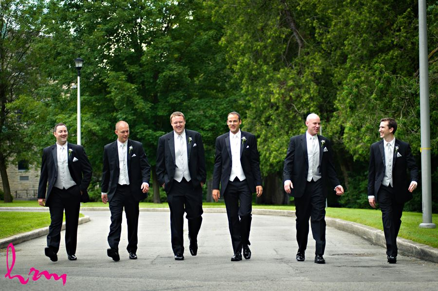 Groomsmen walking down the street in London Ontario
