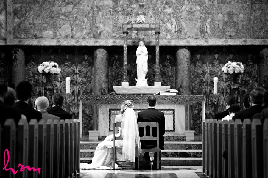 Bride and groom at the Windermere Chapel in London Ontario in Black and White