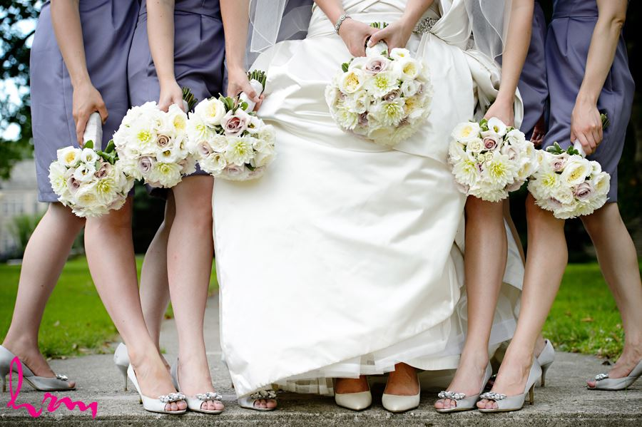 Close up of bride and bridal party bouquet and shoes in London Ontario