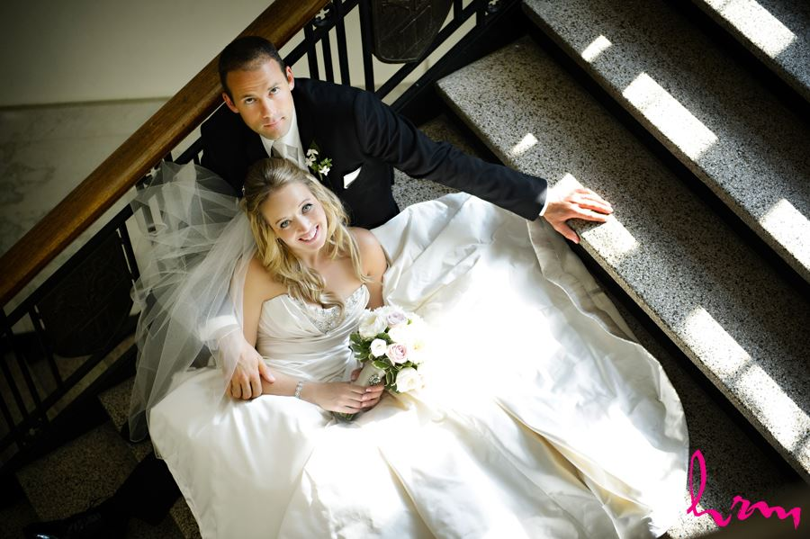 Top view of bride and groom on stairs at Western University
