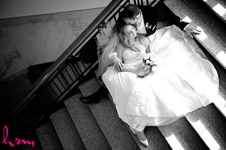 top view of bride and groom on stairs in University College at Western University