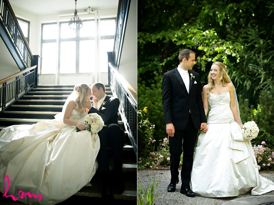 romantic photo of bride and groom cuddling on stair well at Western University