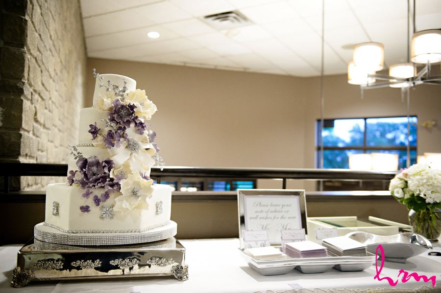 Purple and Ivory wedding cake in London Ontario