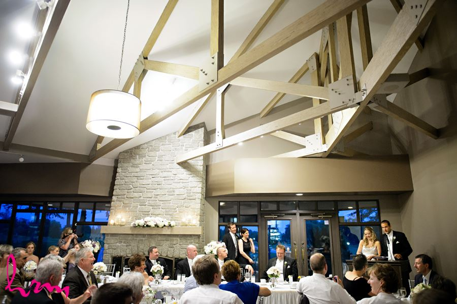 Bride and Groom giving speech at West haven Golf in London Ontario