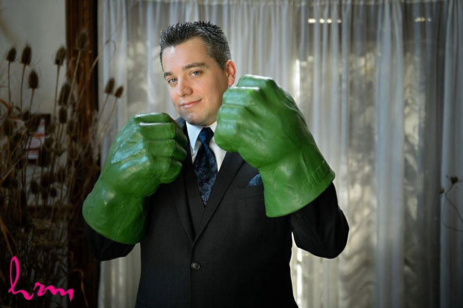 Matt with Hulk hands Windermere Manor London ON Wedding Photographyv