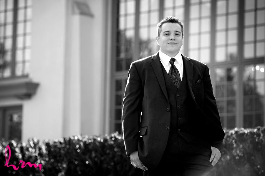 Matt outside Windermere Manor London ON Wedding Photography
