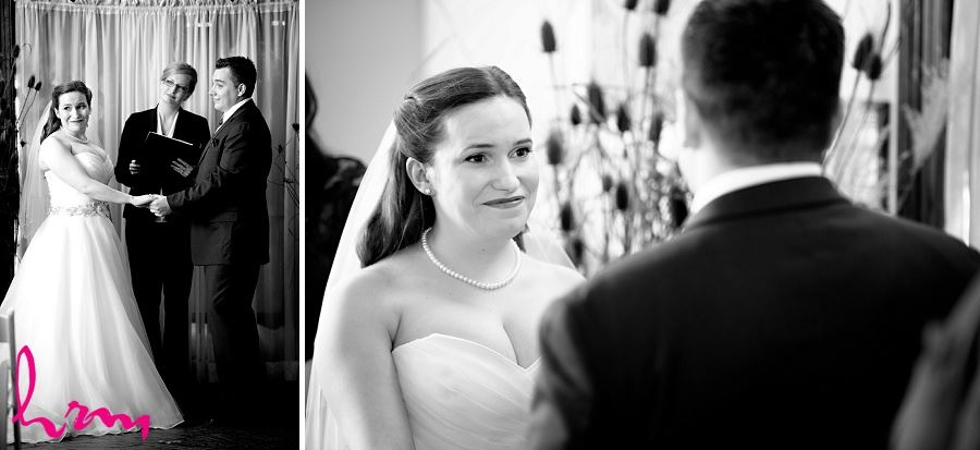 Black and white photo of the ceremony at Windermere Manor London ON Wedding Photography