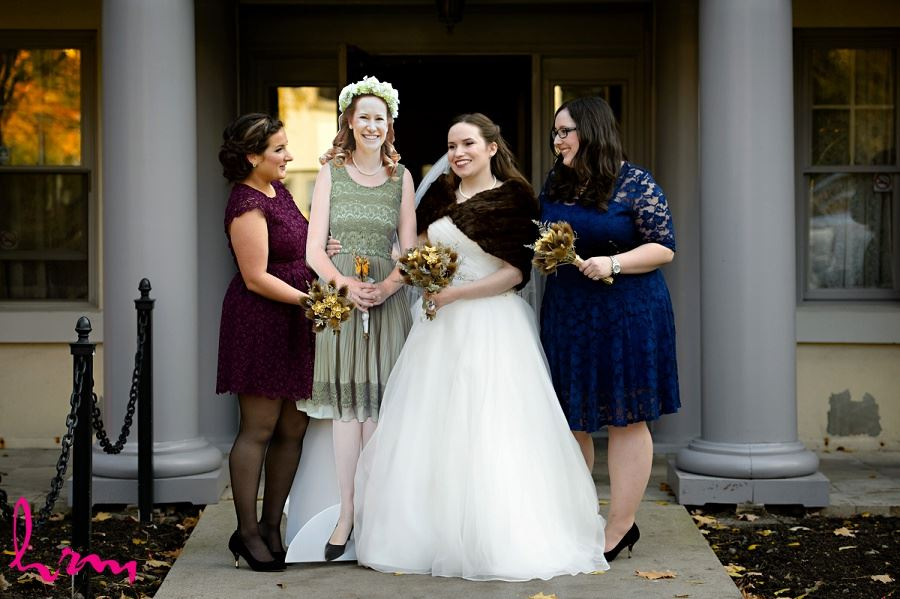 Grace and bridesmaids outside after wedding Windermere Manor London ON Wedding Photography