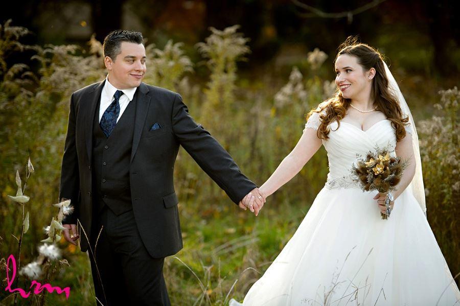 Grace + Matt in field Windermere Manor London ON Wedding HRM Photography
