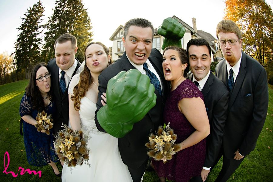 Bridal party with Hulk hands Windermere Manor London ON Wedding Photography