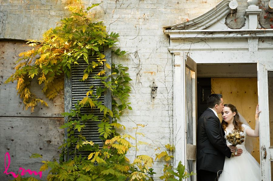 Matt and Grace in abandonded house London ON Wedding HRM Photography
