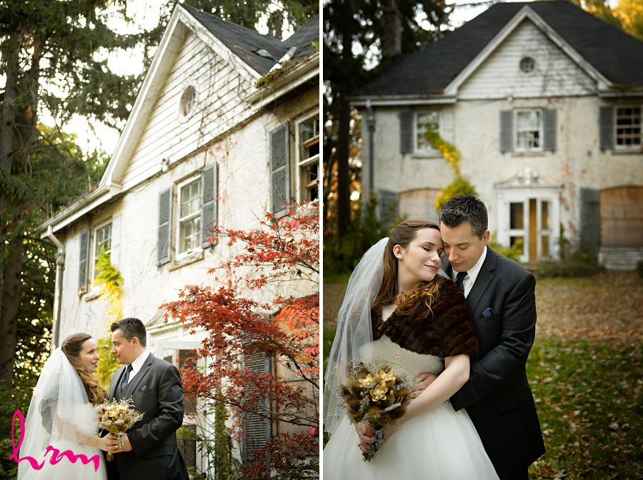 Matt and Grace outside abandonded house London ON Wedding HRM Photography