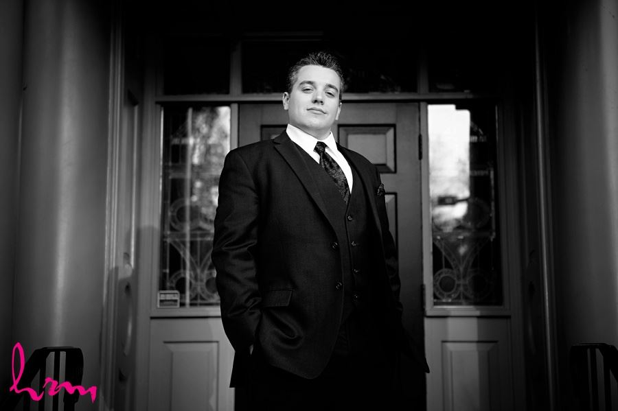 Black and white Matt outside  Windermere Manor London ON Wedding HRM Photography