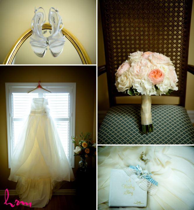 Wedding bridal bouquet peach and ivory