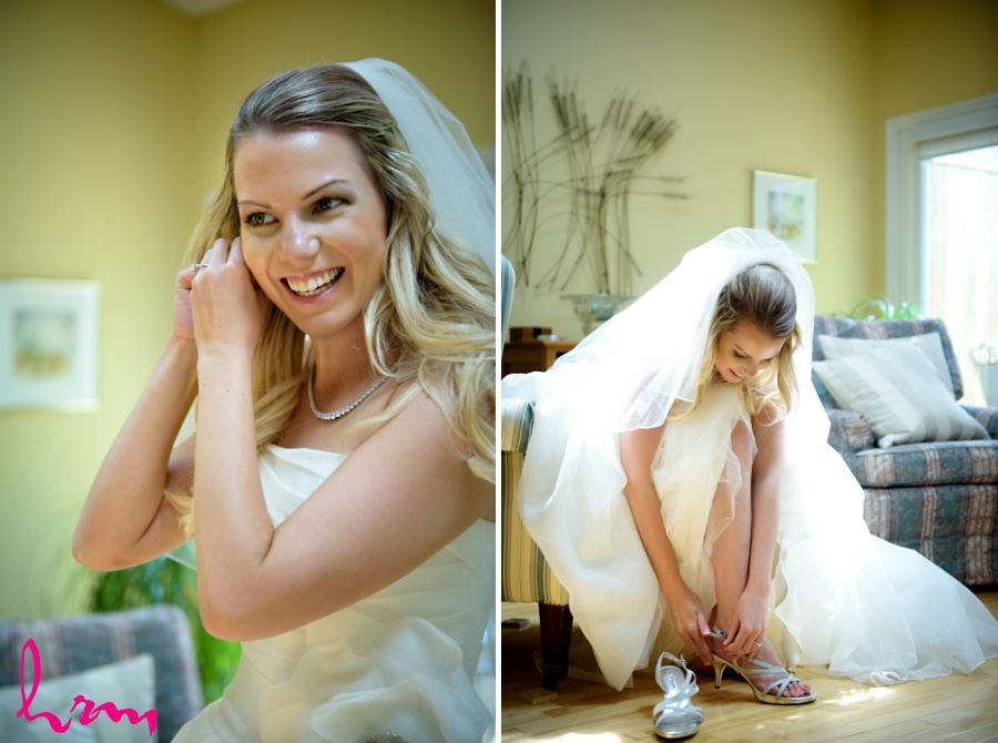 Bride smiling getting ready