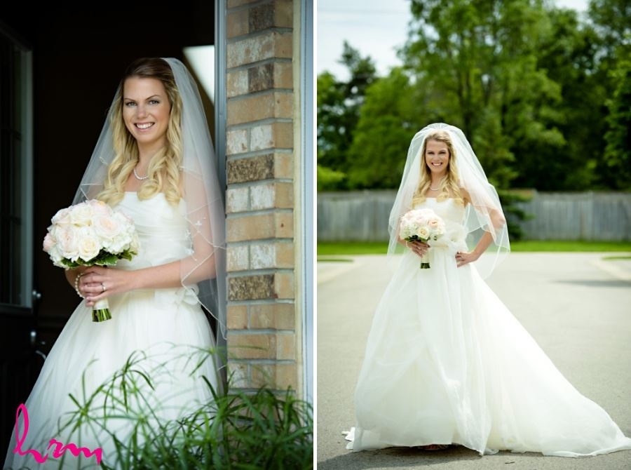 Bridal portrait bride full length in veil