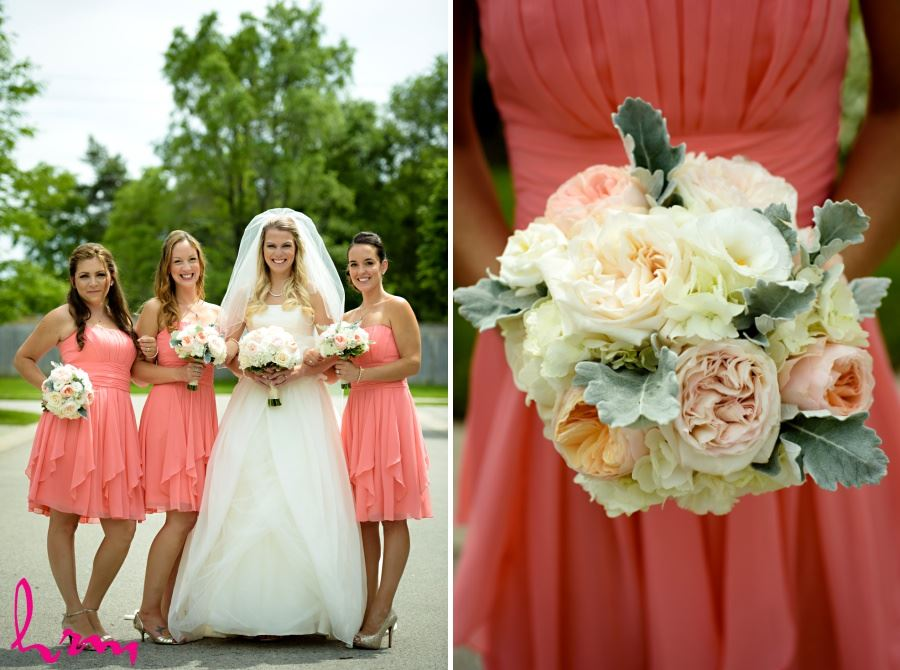 Bride with bridesmaids in coral dresses and gold shoes