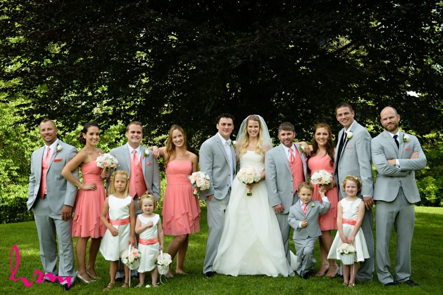Wedding party with flower girls and ring bearer