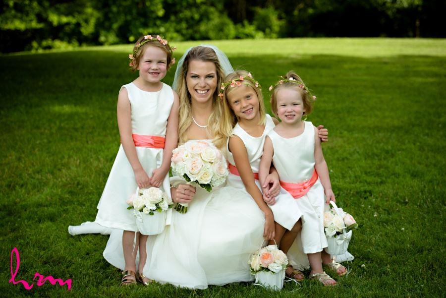 Bride with three flower girls
