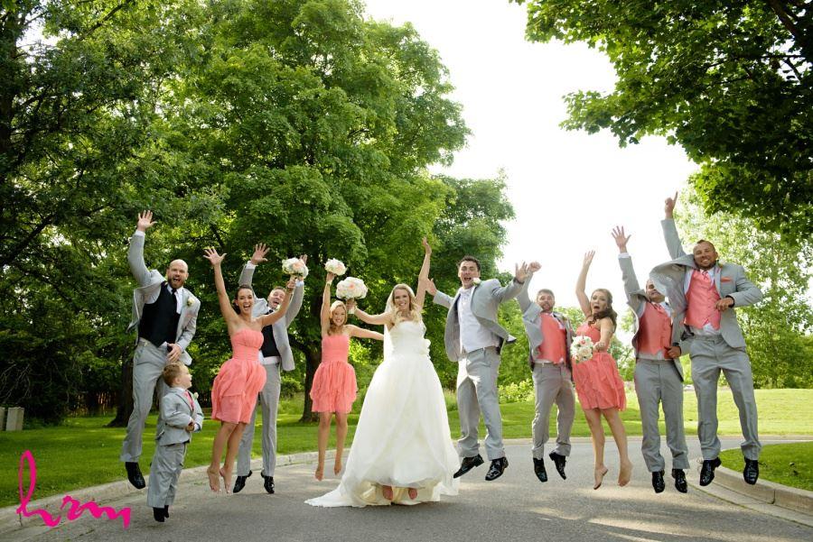 Wedding party jumping shot