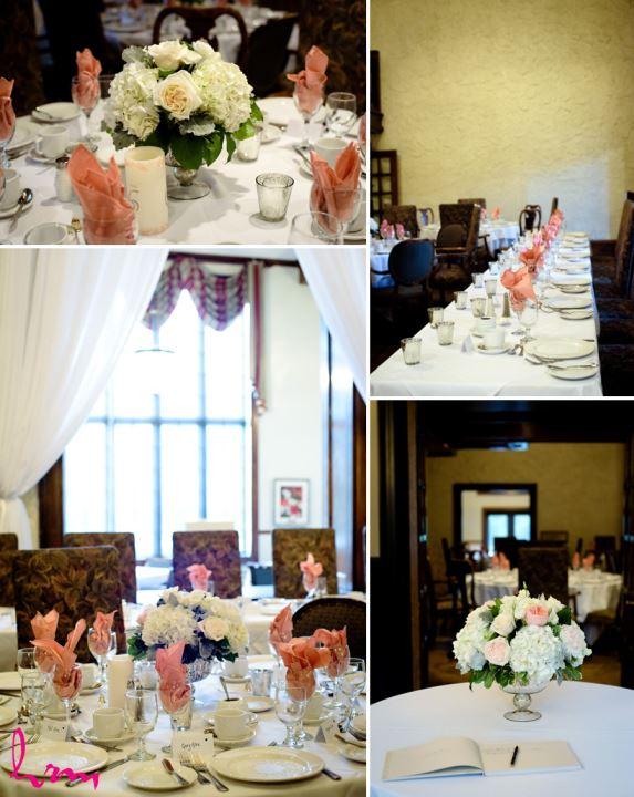 Coral peach and ivory reception decor at windermere manor london ontario