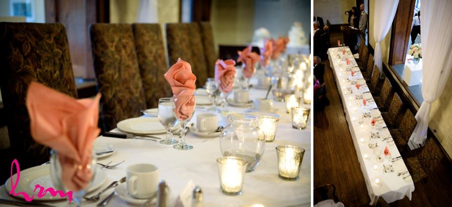 Simple head table decor with candles and coloured napkins