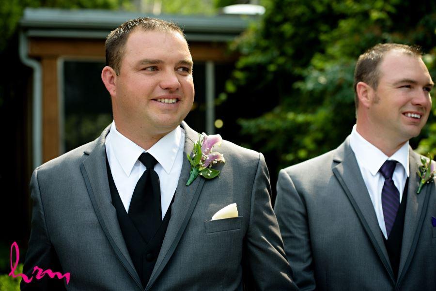 groom purple boutineer