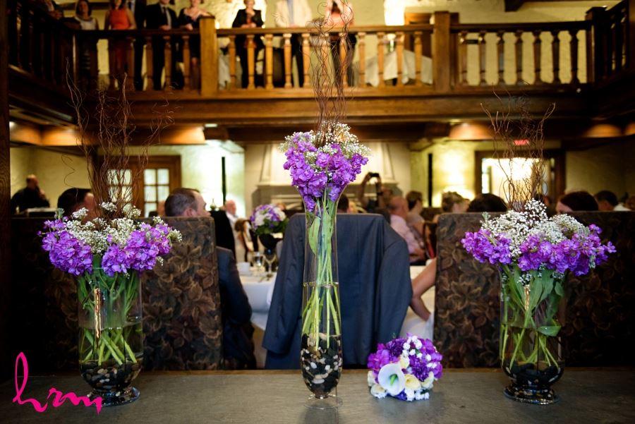 purple flowers wedding day decor